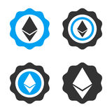 Ethereum Stamp Seal Vector Icon Set. Style is bicolor flat symbols Royalty Free Stock Photo