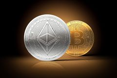 Ethereum stands in front of bitcoin on gently lit dark background. Domination concept. New virtual money, 3D rendering royalty free illustration