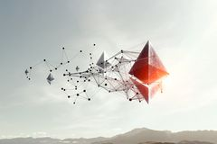 Ethereum symbol and connection lines royalty free stock images