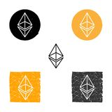 Ethereum -  symbol of digital crypto currency, set of icons linear, grunge. Ethereum -  symbol of digital crypto currency, set of icons linear, grunge Royalty Free Stock Photography