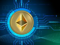 Ethereum symbol connected to some circuits Royalty Free Stock Images