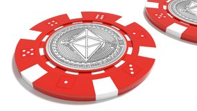 Ethereum symbol on a red poker chip cryptocurrency risk concept Royalty Free Stock Photo