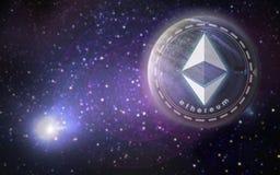 Ethereum-Symbolhologramm über Planeten im Raum Stockbild