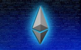 Ethereum symbolsymbol med koden för teknologibakgrund Royaltyfria Bilder