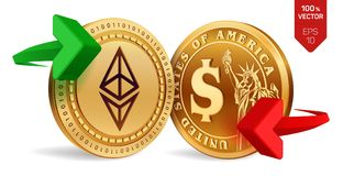 Ethereum to dollar currency exchange. Ethereum. Dollar coin. Cryptocurrency. Golden coins with Ethereum and Dollar symbol with gre. En and red arrows. 3D Royalty Free Stock Image