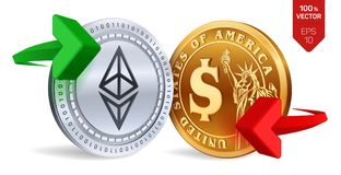 Ethereum to dollar currency exchange. Ethereum. Dollar coin. Cryptocurrency. Golden and silver coins with Ethereum and Dollar symb. Ol with green and red arrows Royalty Free Stock Image