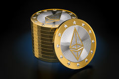Ethereum - Virtual Money. Cryptocurrency - 3D Rendering Stock Images