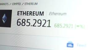 Ethereum wekslowego tempa materiał filmowy Cryptocurrency handel tropi zakończenie up zdjęcie wideo