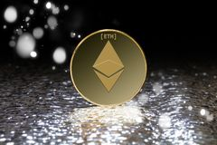 Ethereumcrypto muntclose-up Royalty-vrije Stock Foto's
