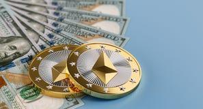 Ethereummuntstukken en Dollarrekeningen royalty-vrije illustratie
