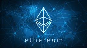 Ethereumsymbool op futuristische hudbanner Royalty-vrije Stock Afbeeldingen