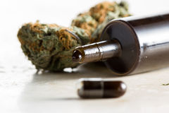 Etherische olie van geneeskrachtige cannabis wordt gemaakt die Royalty-vrije Stock Afbeelding