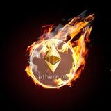 Etherium no fogo Foto de Stock Royalty Free