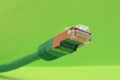 Ethernet cable. Green ethernet cable on a green background Royalty Free Stock Images
