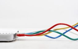 Ethernet cable connections Royalty Free Stock Photo