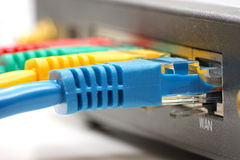 Ethernet cable plugged into network router Stock Photo