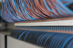 Ethernet cables connected to computer internet Stock Photos