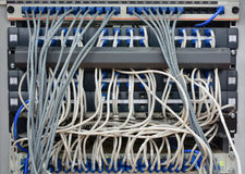 Ethernet cables connected to computer  internet server Stock Image