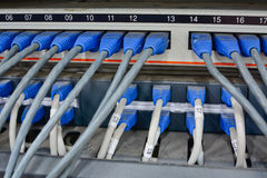 Ethernet cables connected to computer  internet server Stock Images