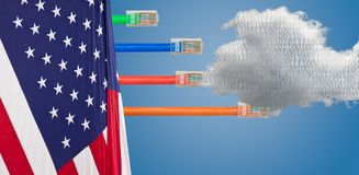 Cloud computing and USA flag in Net Neutrality image. Ethernet cables emerge with different lengths from US Flag to illustrate Net Neutrality debate in Congress Stock Photography