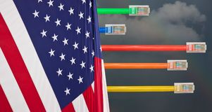 Dark clouds and USA flag in Net Neutrality image. Ethernet cables emerge with different lengths from US Flag to illustrate Net Neutrality debate in Congress Stock Photos