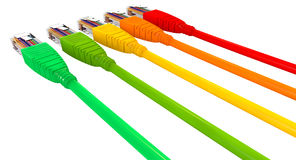 Ethernet Cables Unplugged Colors Pointing Away Close. A set of five colorful ethernet plugs with chords all facing in the same direction on an isolated Stock Image