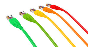 Ethernet Cables Unplugged Colors Pointing Away Stock Photos