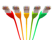 Ethernet Cables Unplugged Colors Pointing Forward Underneath Royalty Free Stock Images