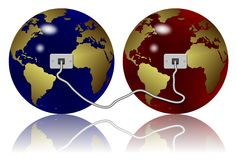 Ethernet connection. Two earth globes connected with an Ethernet cable Royalty Free Stock Photos