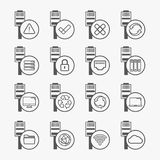 Ethernet connection icons set. Ethernet connection icons. Connection state and access indicators icons Stock Photos