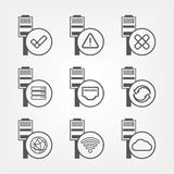 Ethernet connection icons set. Ethernet connection icons. Connection state and access indicators icons Royalty Free Stock Image