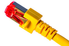Ethernet Connector. Ethernet Cable with Connector (yellow Stock Photos