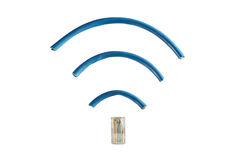 Ethernet cord in shape of wireless symbol Royalty Free Stock Photo