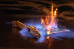 Ethernet in the fire Stock Images