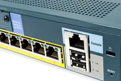 Ethernet Firewall. LAN port of a Ethernet firewall with console port, reset and USB Stock Photography
