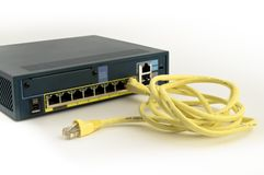 Ethernet firewall and cable Stock Photography