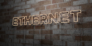 ETHERNET - Glowing Neon Sign on stonework wall - 3D rendered royalty free stock illustration Royalty Free Stock Image