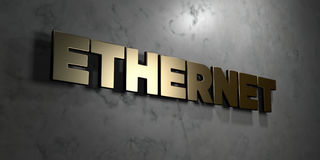 Ethernet - Gold sign mounted on glossy marble wall  - 3D rendered royalty free stock illustration Stock Images