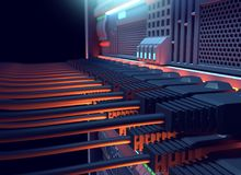 Ethernet network Cables Connected to Internet server 3d illustra. Tion ,concept of mining Royalty Free Stock Photography