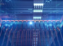 Ethernet network Cables Connected to Internet server 3d illustra. Tion ,concept of mining Stock Images