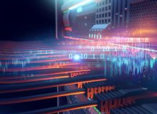 Ethernet network Cables Connected to Internet server 3d illustra. Tion ,concept of mining Royalty Free Stock Photos