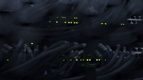 Ethernet Network Connection Hub. Blinking lights in a dark server room, Close-up view of Ethernet cables wired to router 4K.  stock video footage