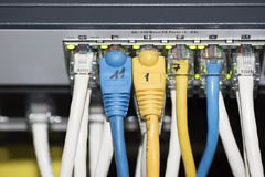 Ethernet Network Switch. With ethernet cables Stock Photography