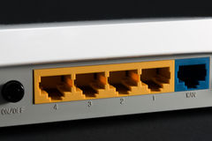 Ethernet port on the back of the router Royalty Free Stock Images