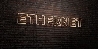 ETHERNET -Realistic Neon Sign on Brick Wall background - 3D rendered royalty free stock image Stock Image