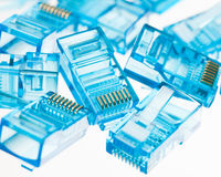 Ethernet rj45 blue lan plugs Stock Images