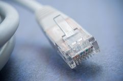 Ethernet RJ45 white Network Cable on blue background. Closeup of ethernet RJ45 white Network Cable on blue background Royalty Free Stock Images