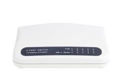 Ethernet-Schalter auf weißem Hintergrund. Vorderansicht. Lizenzfreie Stockfotografie