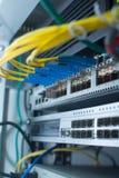 Ethernet sieci zmiana Światłowodu kabel Zdjęcie Stock