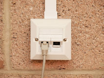 Ethernet socket for two devices Royalty Free Stock Photo